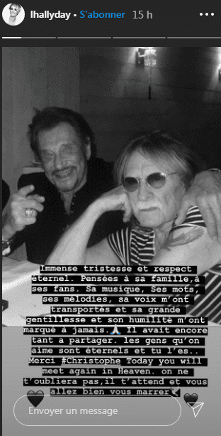 Photos de Johnny Hallyday et Christophe. dans la story de Laeticia Hallyday. | Photo : Getty Images
