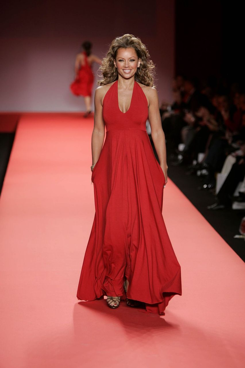 Vanessa Williams walks the runway at the Heart Truth Red Dress Collection during the Olympus Fashion Week at Bryant Park February 4, 2004 in New York City. | Source: Getty Images