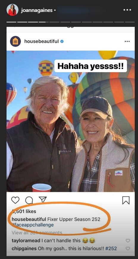 Chip and Joanna Gaines with the FaceApp aging-filter applied | Photo: Instagram Story/Joanna Gaines