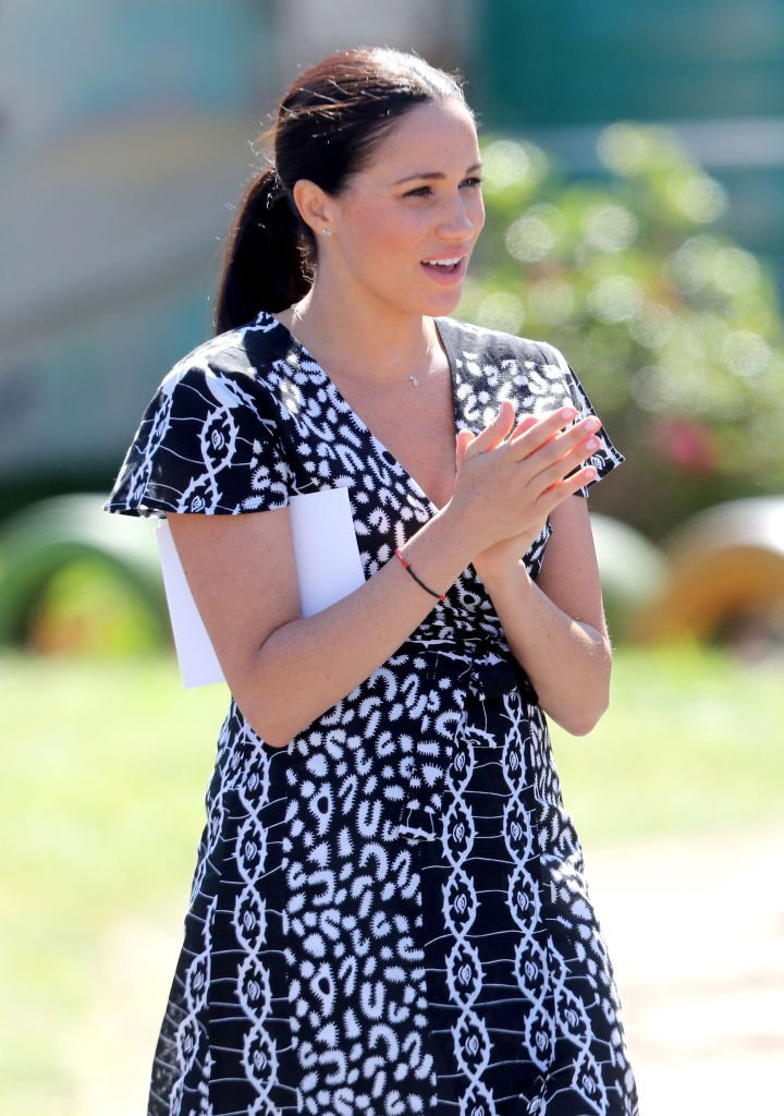 Meghan Markle during the visit to a Justice Desk initiative in Nyanga township.   Source: Getty Images