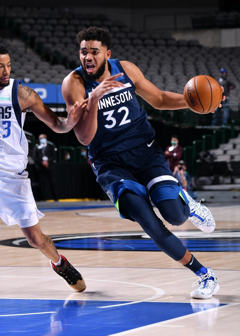 Karl-Anthony Towns on December 17, 2020 at the American Airlines Center in Dallas, Texas | Photo: Getty Images