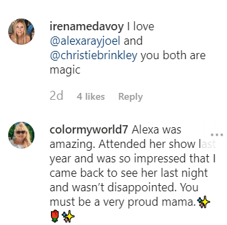 Fan Comments on Christie Brinkley's post praising both her and her daughter, Alexa Ray   Instagram: @christiebrinkley