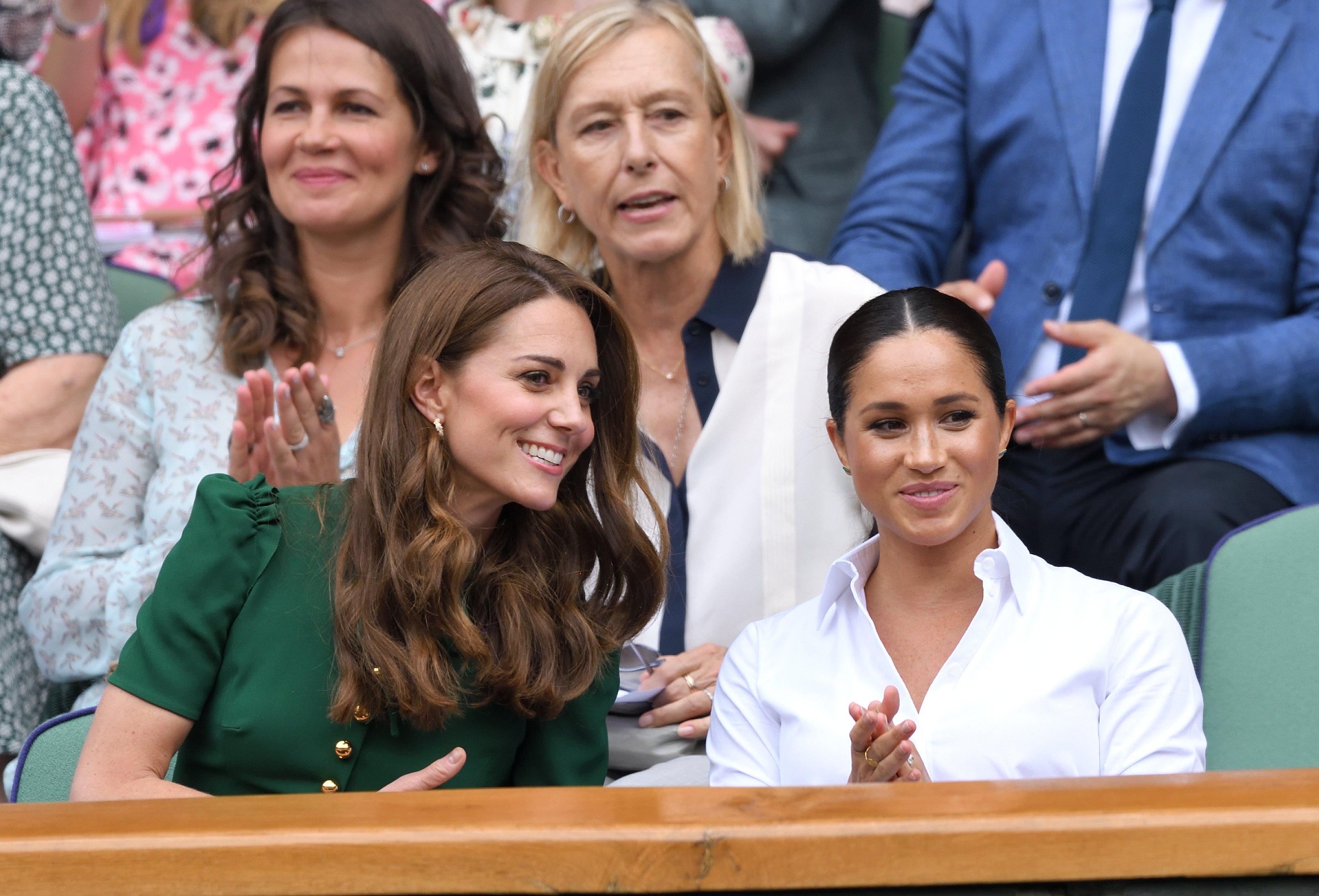 Kate Middleton and Meghan Markle at the Wimbledon Tennis Championship on July 13, 2019 | Photo: GettyImages