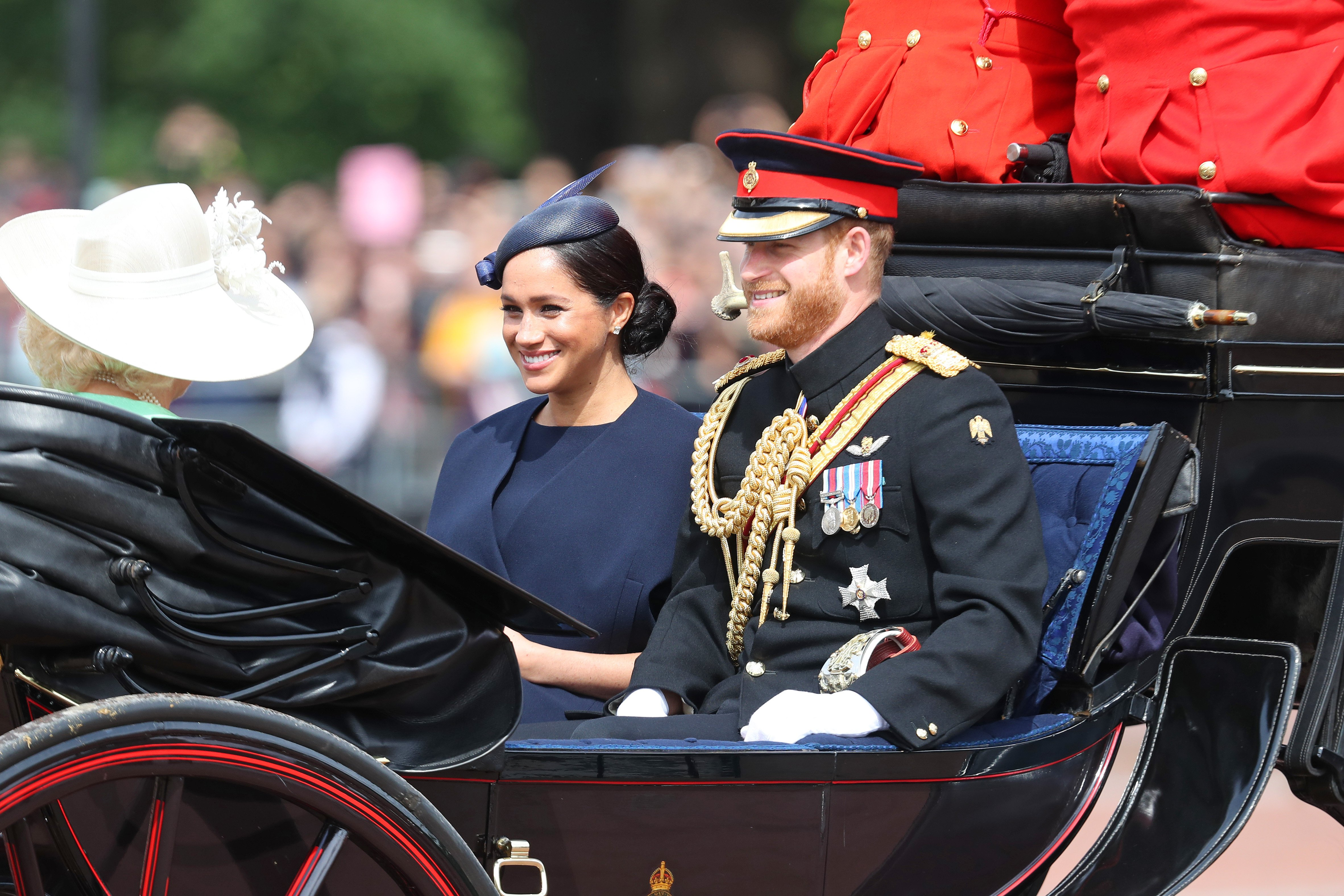 Meghan Markle and Prince Harry at Trooping The Colour, the Queen's annual birthday parade, on June 08, 2019 in London, England | Photo: Getty Images