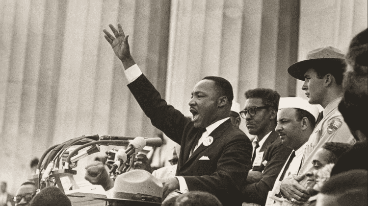 """Photo of Martin Luther King Jr. giving the """"I Have a Dream"""" speech shown in the documentary film """"Accidental Courtesy"""" 