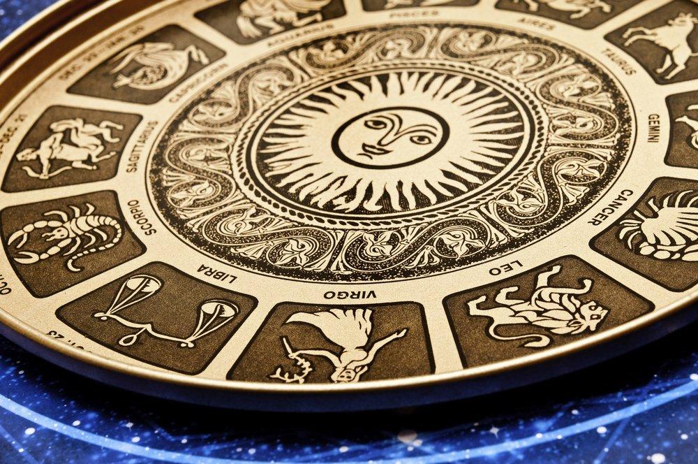 Placa astrológica con todos los signos del zodiaco. Fuente: Shutterstock