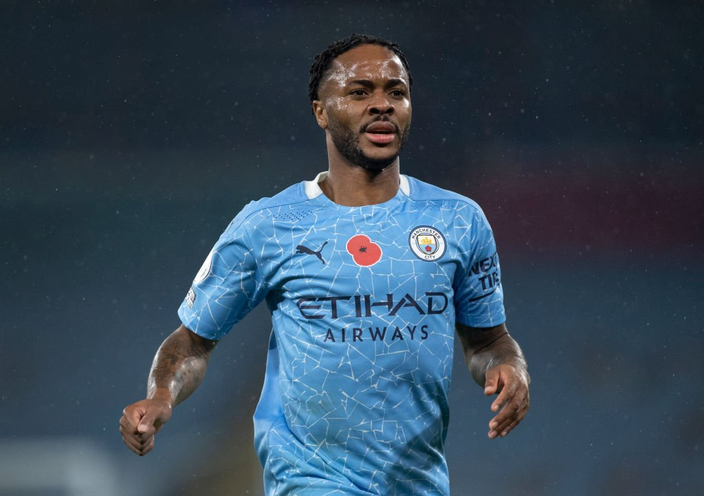Raheem Sterling of Manchester City in action during the Premier League match between Manchester City and Liverpool at the Etihad Stadium on November 8, 2020.   Photo: Getty Images