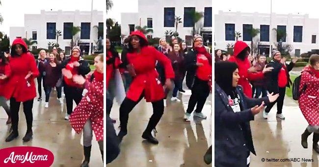 Les enseignants en grève décident de faire une danse énergique expressive pour garder le moral