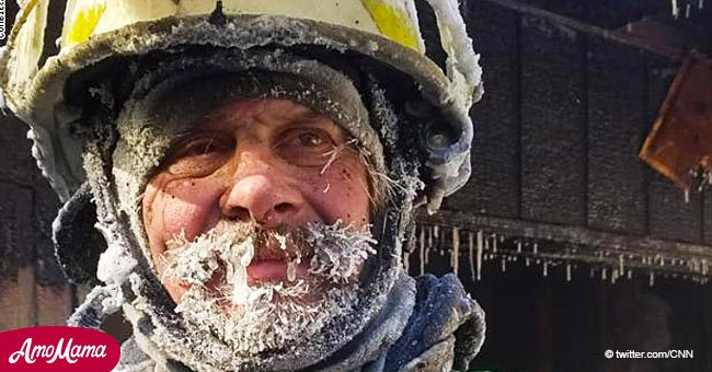 Wisconsin firefighter's beard freezes while fighting a fire in a wind chill of minus 50