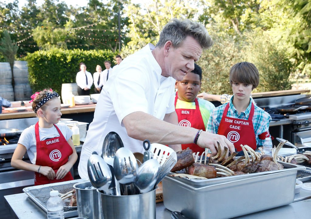 "Chef Gordon Ramsay and contenstants Ben and Cade in season six of ""Masterchef Junior."" 