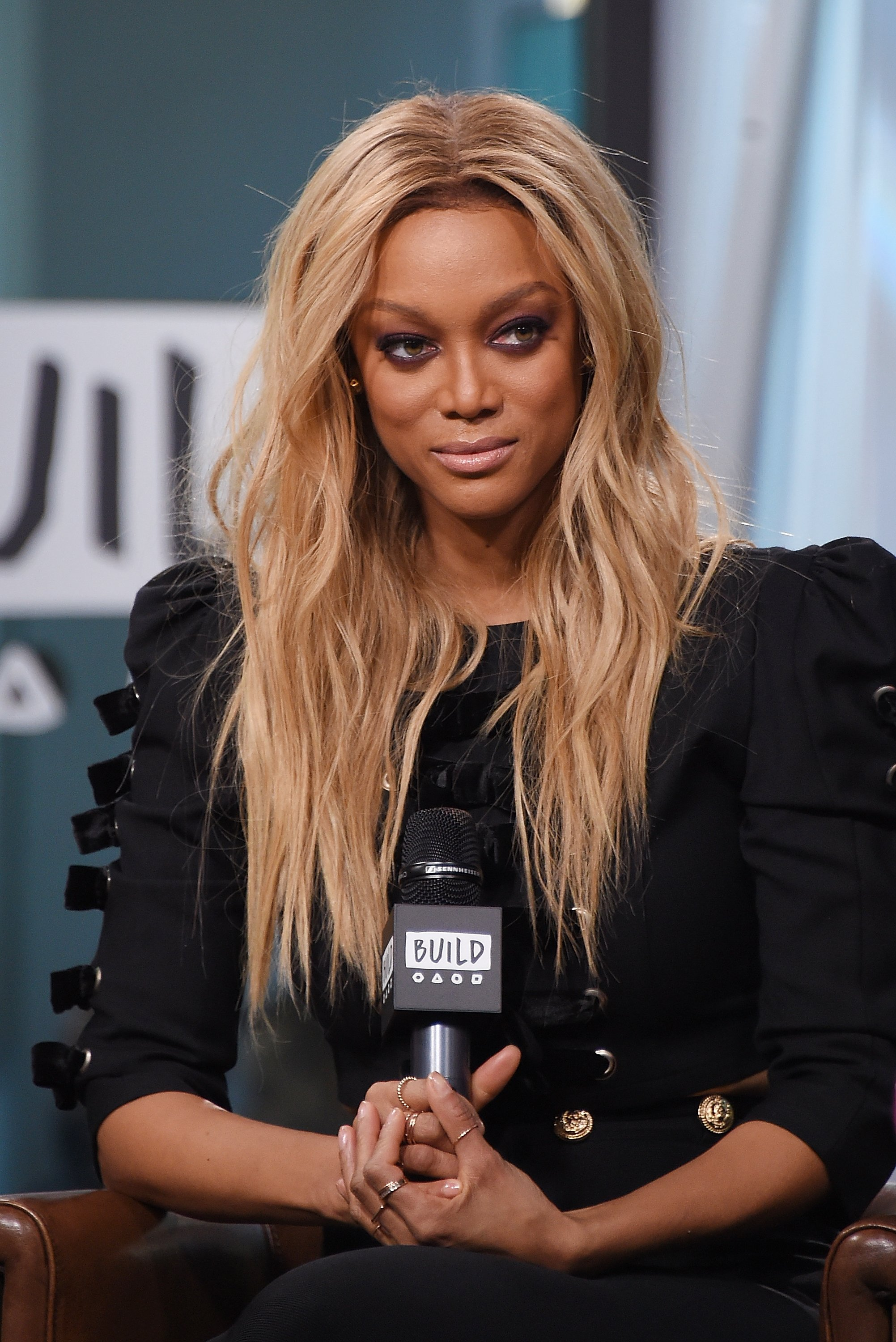 "Tyra Banks visits Build Studio to discuss the show ""America's Next Top Model"" at Build Studio on January 9, 2018 in New York City 