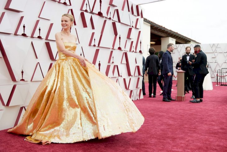LOS ANGELES, CALIFORNIA – APRIL 25: (EDITORIAL USE ONLY) In this handout photo provided by A.M.P.A.S., Carey Mulligan attends the 93rd Annual Academy Awards at Union Station on April 25, 2021 in Los Angeles, California. (Photo by Matt Sayles/A.M.P.A.S. via Getty Images)