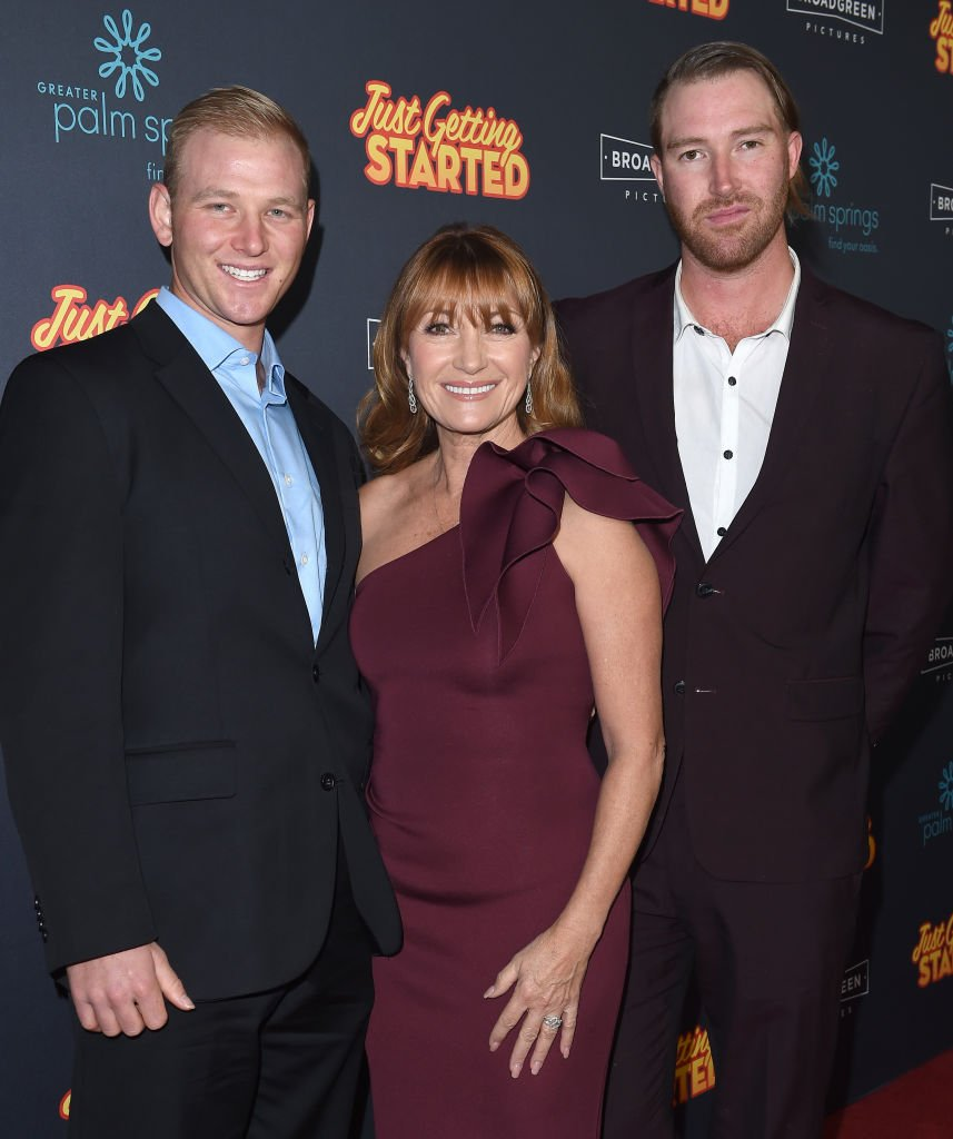 """Jane Seymour with her sons John Stacy Keach and Sean Flynn at the premiere of """"Just Getting Started"""" at ArcLight Hollywood on December 7, 2017 