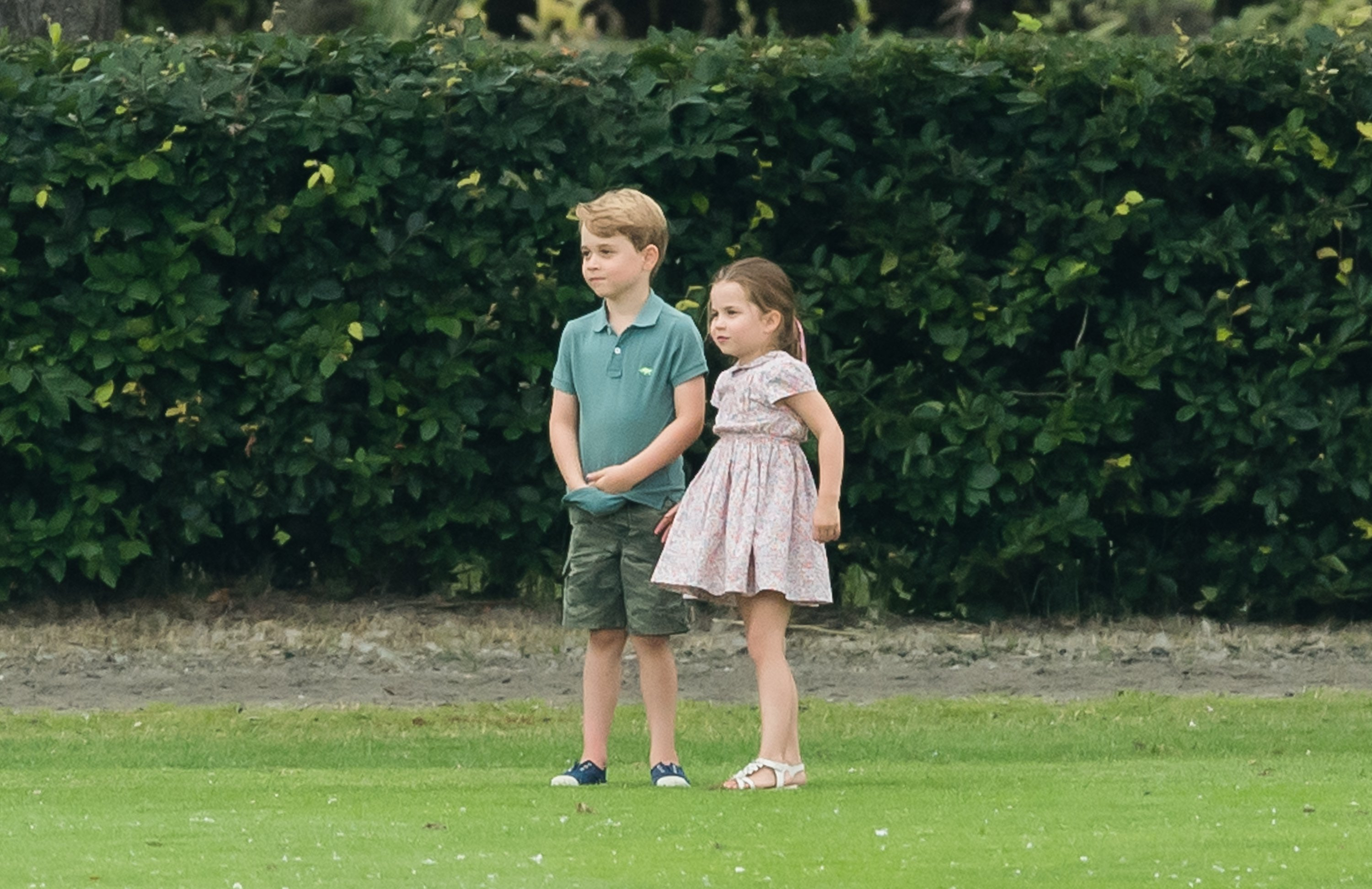 Prince George and Princess Charlotte attend The King Power Royal Charity Polo Day at Billingbear Polo Club on July 10, 2019 in Wokingham, England. | Source: Getty Images