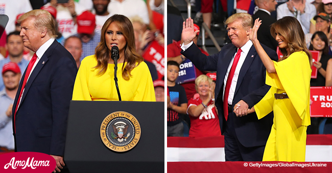 Melania Looks like an American Goddess in Magnificent Yellow Jumpsuit at Donald Trump's Rally