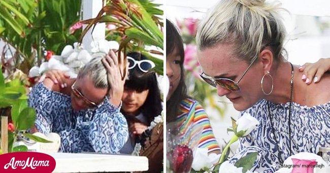 Une scène douloureuse à St-Barth: Laeticia a fondu en larmes devant la tombe de Johnny Hallyday