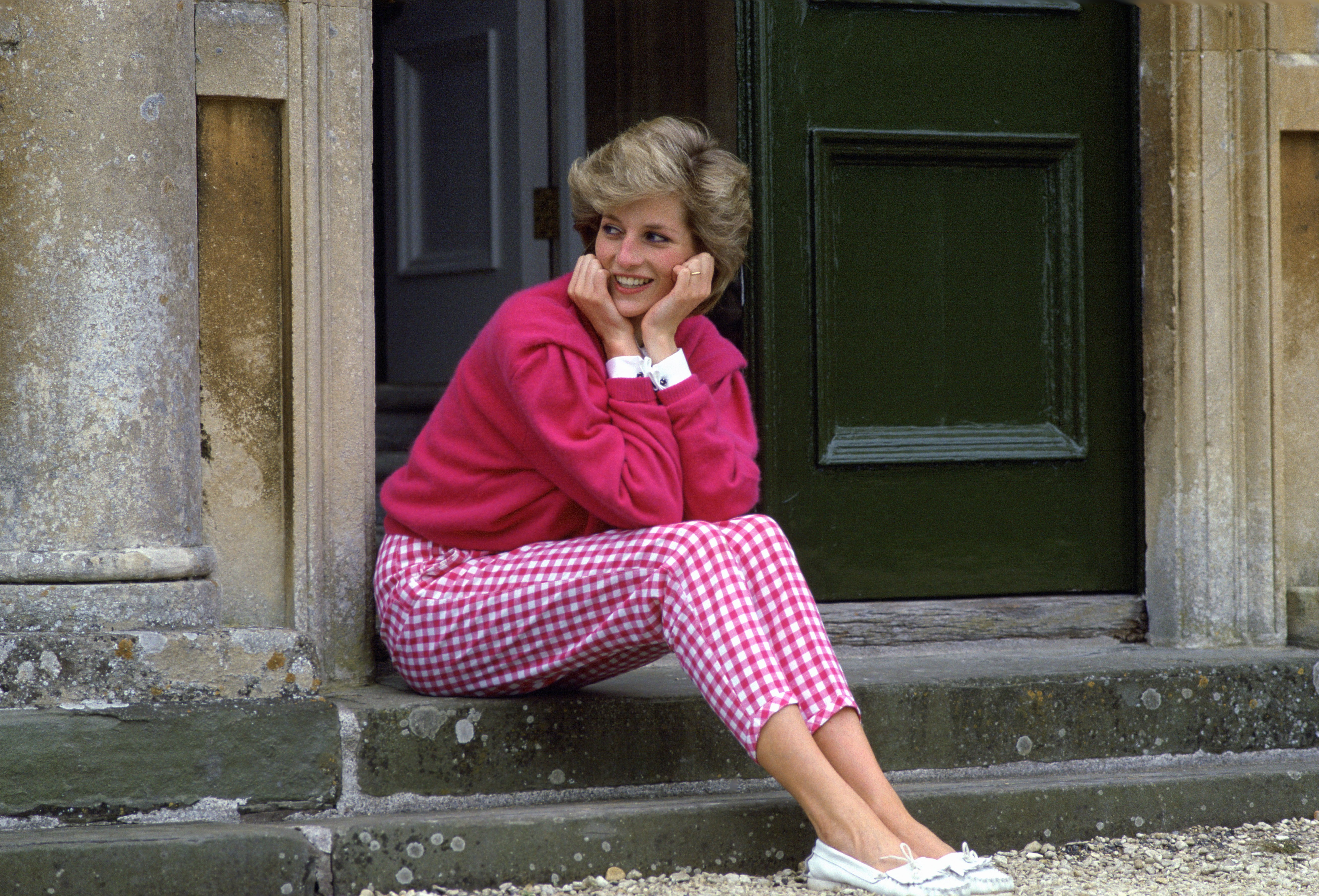 Diana, Princess Of Wales, Sitting On The Steps Outside Her Country Home, Highgrove.| Source: Getty Images