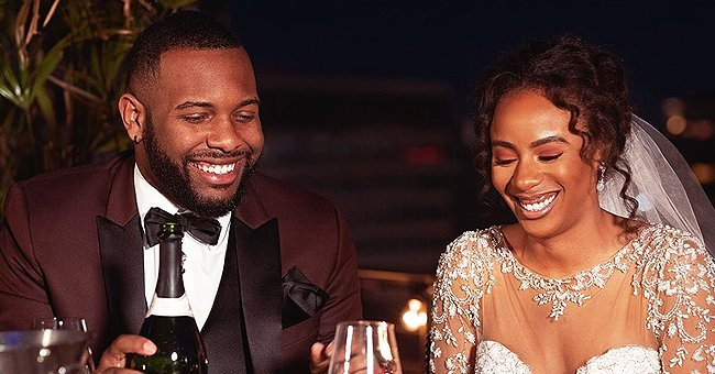 """Miles and Karen fromLifetime's show, """"Married at First Sight"""" chat during their wedding reception 