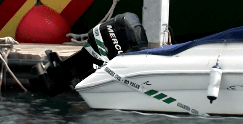 A close up of Tomas Gimeno's boat covered in police tape. | Photo: Reuters