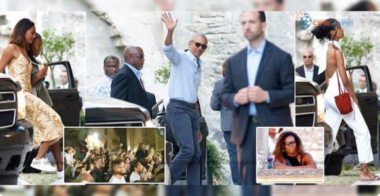 Los Obamas vistos en Francia durante el fin de semana para celebrar el Día del Padre | Fuente: Twitter / Cinelahari45
