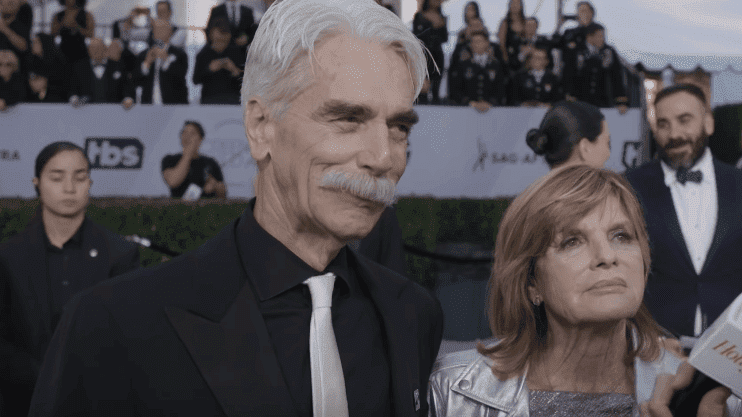 Sam Elliot and Katharine talk with a reporter during the red carpet event of SAG Awards 2019. | Source: YouTube/The Hollywood Reporter