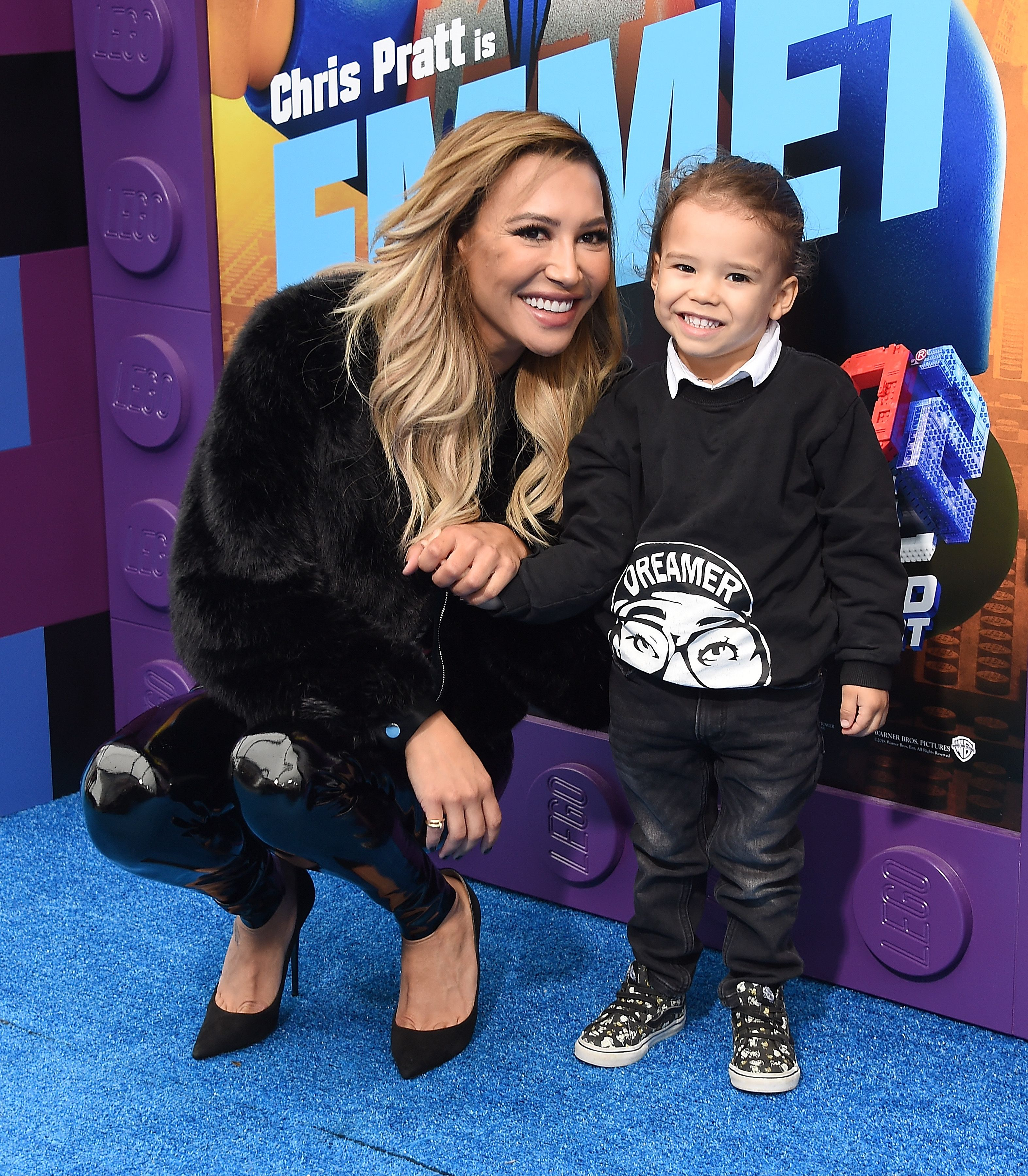 """Naya Rivera and her son Josey Hollis at the premiere of  """"The Lego Movie 2: The Second Part"""" in 2019 in Westwood, California   Source: Getty Images"""