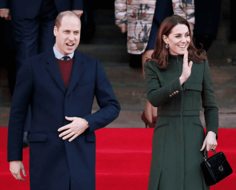 Prince William and Kate Middleton wave at crowds as they leave City Hall in Bradford's Centenary Square, on January 15, 2020 in Bradford, England | Source: Getty Images