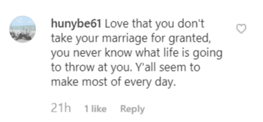 A fan comment commending Deen on her approach to marriage | Instagram: @pauladeen_official
