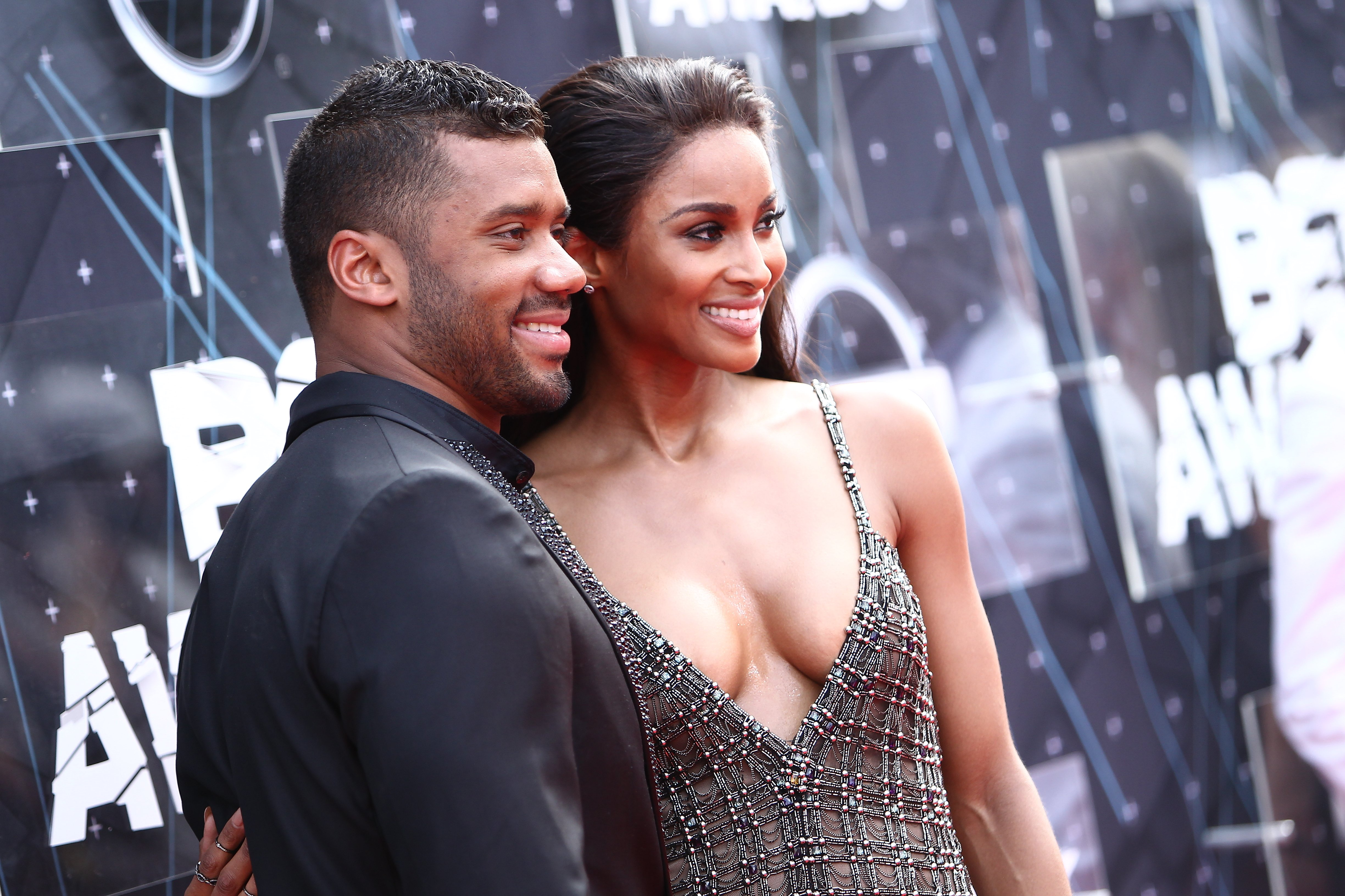 Russell and Ciara Wilson at the BET & Make A Wish Foundation Recipients BET Experience At LA. Live on June 28, 2015 in Los Angeles, California.| Source: Getty Images