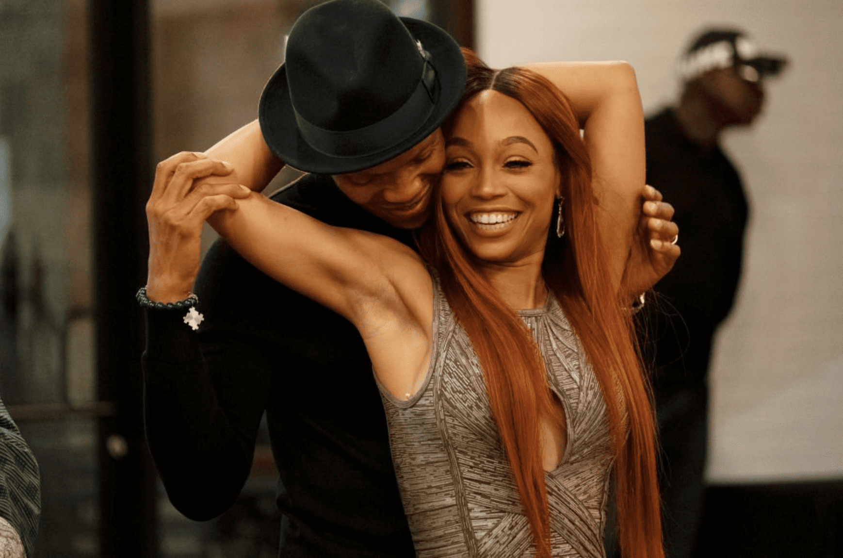 """Ronnie DeVoe and Shamari DeVoe share an embrace on an episode of season 11 of """"The Real Housewives of Atlanta""""onOctober 24, 2018.