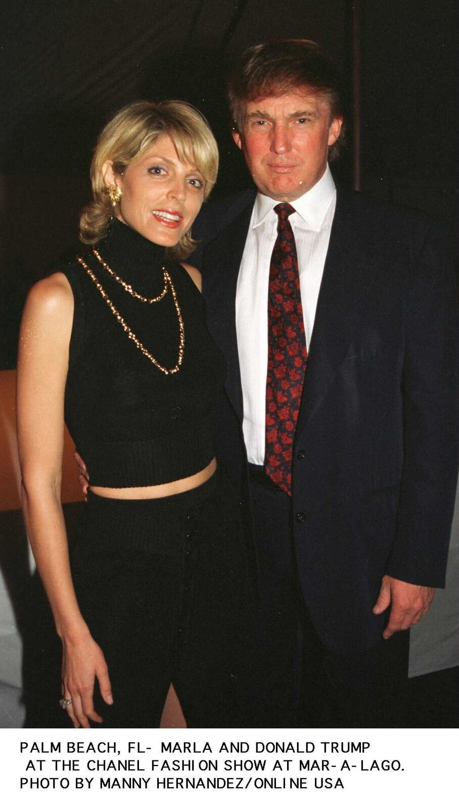 Marla Maples and Donal Trump at the Chanel show in Mar-La-Go. | Source: Getty Images