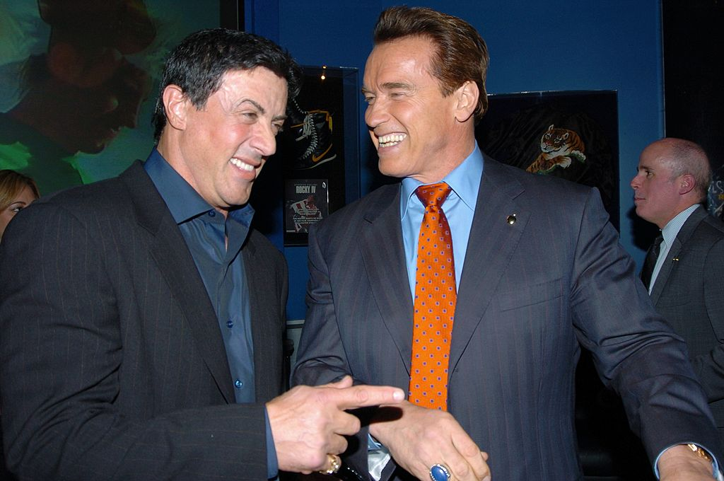 Sylvester Stallone was joined by Arnold Schwarzenegger at a Planet Hollywood party on 07 March, 2005   Photo: Getty Images