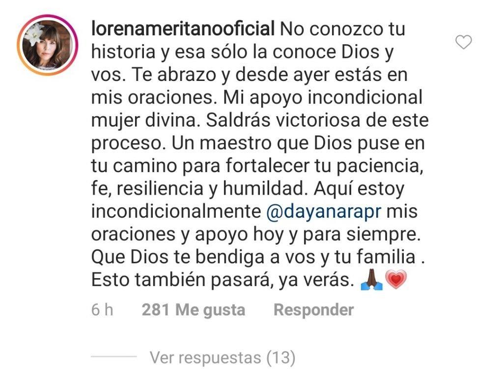 Comentario de Lorena a Dayanara, bajo una foto que compartió.| Imagen: Instagram/ dayanarapr