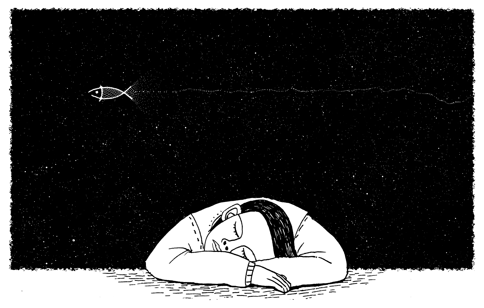 Cartoon of a person dreaming   Source: Pixabay