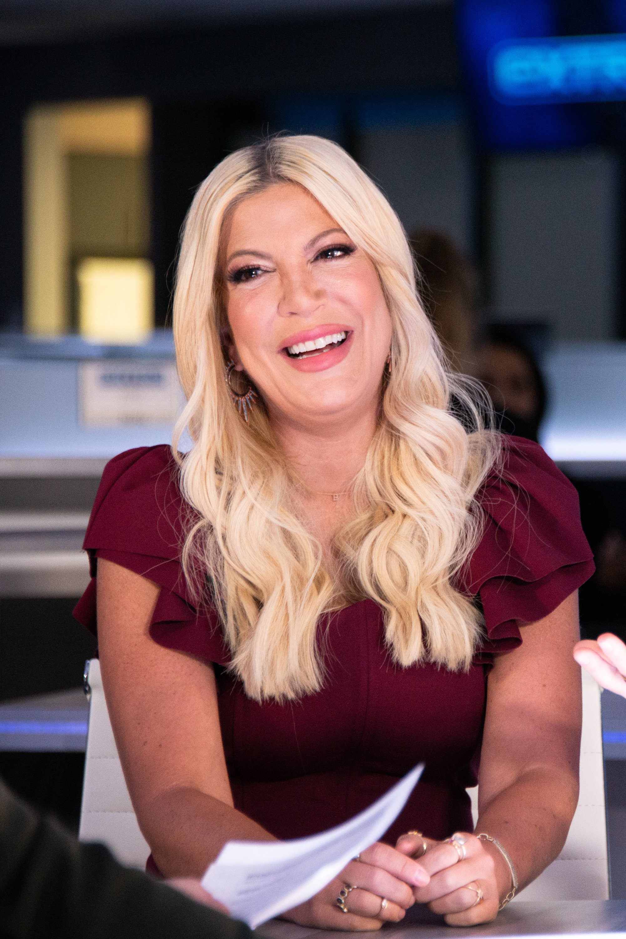 "Tori Spelling visits ""Extra"" on September 11, 2019, in Burbank, California. 