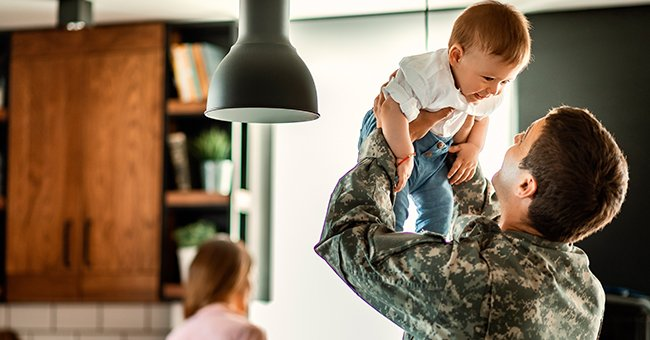 The man was happy to see his son when he returned home after serving in the armed forces.   Photo: Shutterstock
