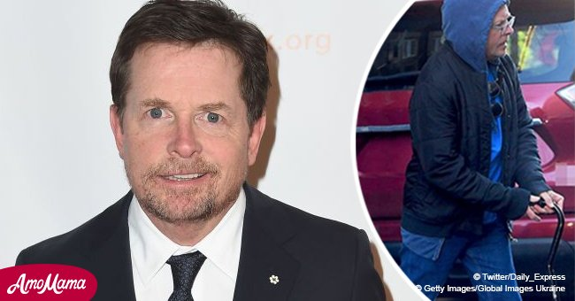 Michael J Fox seen walking with a cane on rare outing as he continues to fight Parkinson's
