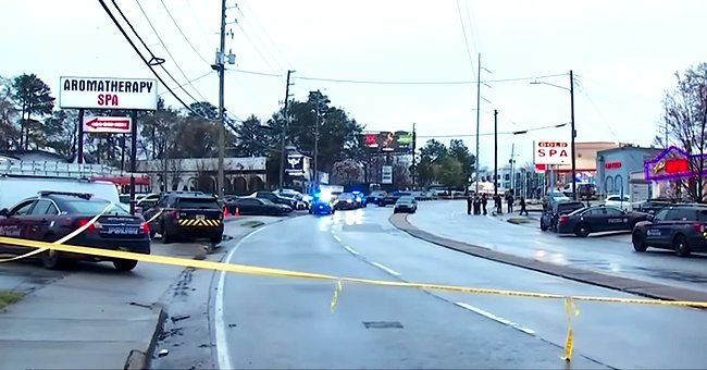 A photo of the crime scene of the Atlanta shooting being marked off with police tape | Photo:youtube.com/CBS News