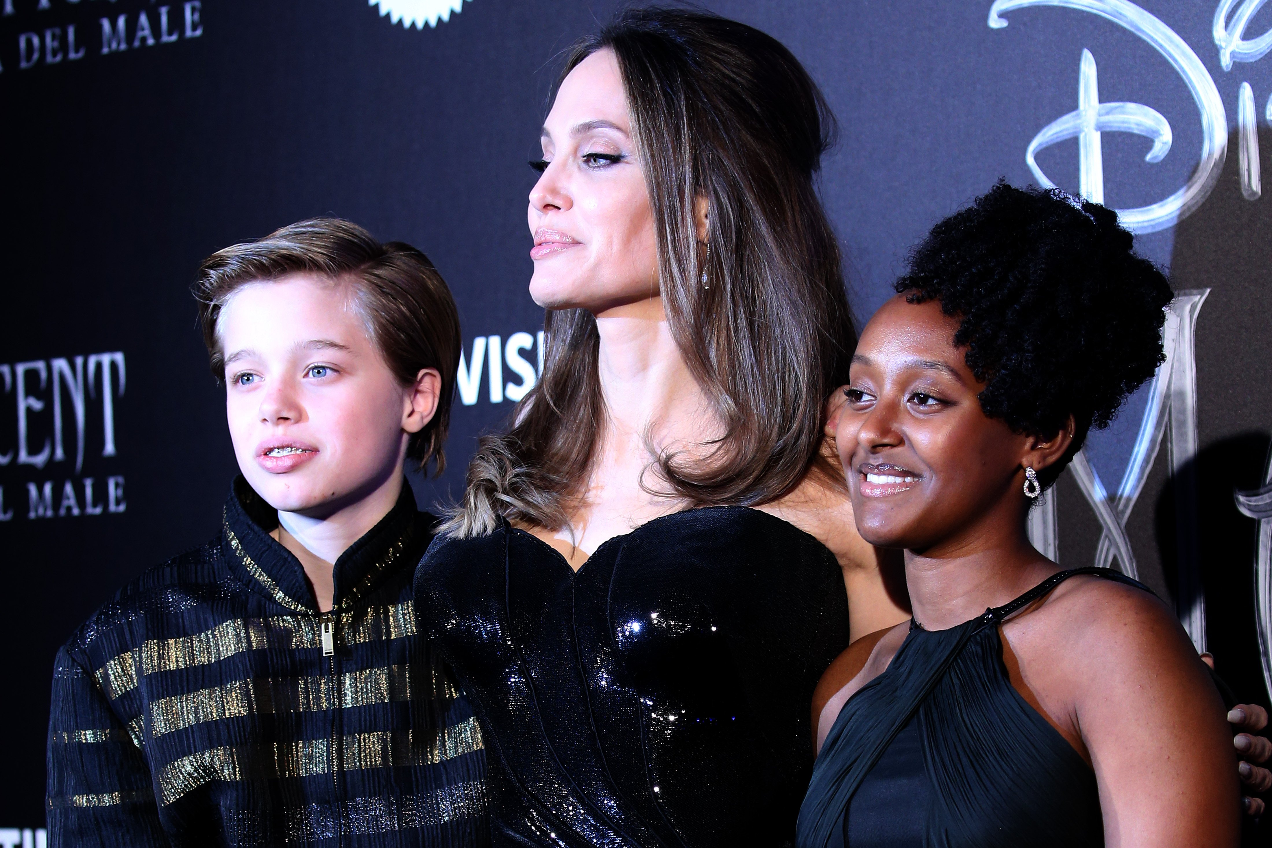 "Shiloh Nouvel Jolie-Pitt, Angelina Jolie and Zahara Marley Jolie-Pitt attend the European premiere of the movie ""Maleficent – Mistress Of Evil"" at Auditorium della Conciliazione on October 07, 2019 in Rome, Italy. 