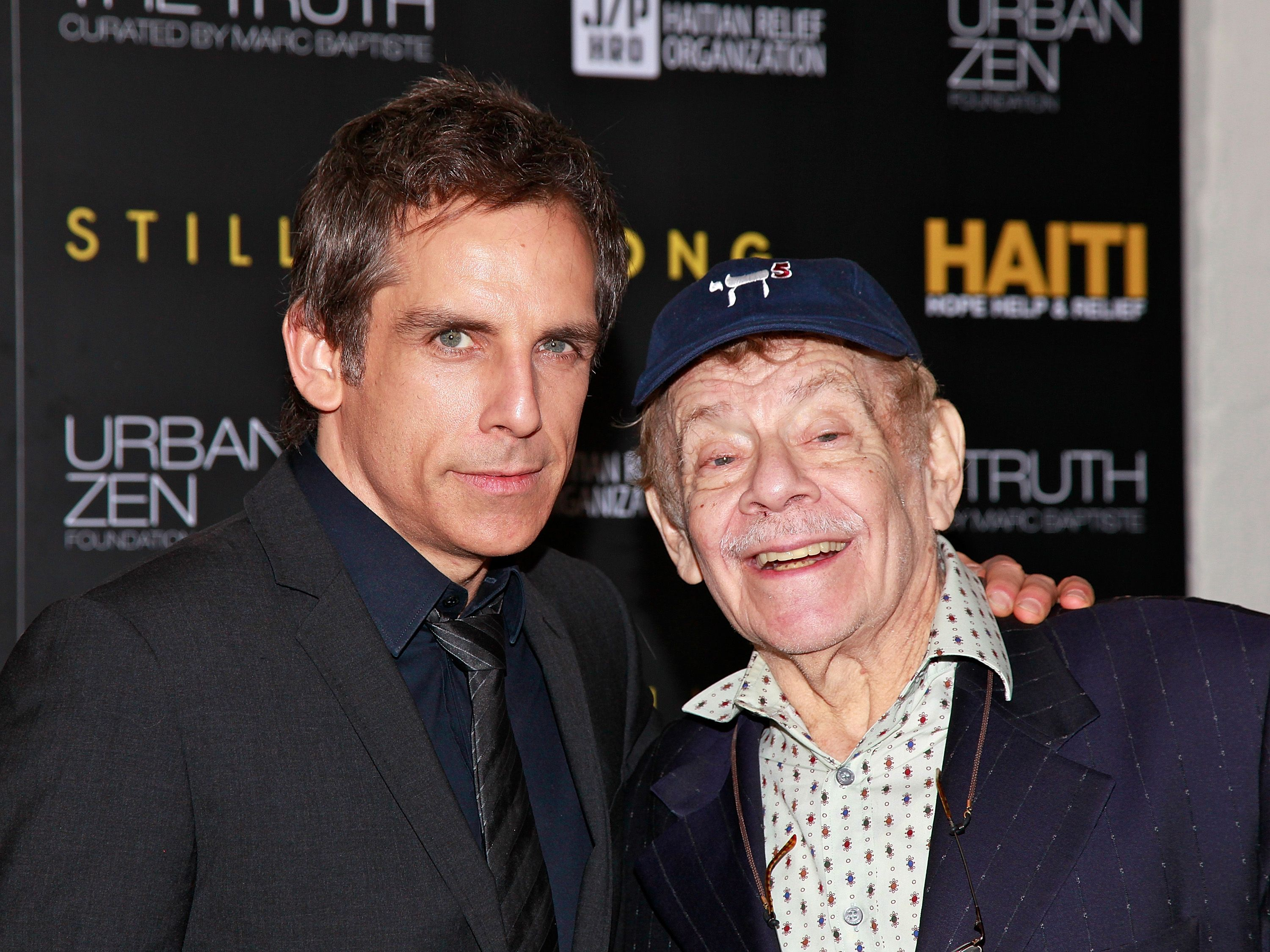 Ben Stiller and Jerry Stiller arrive at the HELP HAITI - Urban Zen HHRH & The Stiller Foundation Honoring Sean Penn at the Urban Zen Center At Stephan Weiss Studio on February 11, 2011 in New York City. | Source: Getty Images