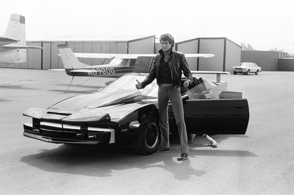 "David Hasselhoff as Michael Knight and K.I.T.T. on the set of ""Knight Rider"" 