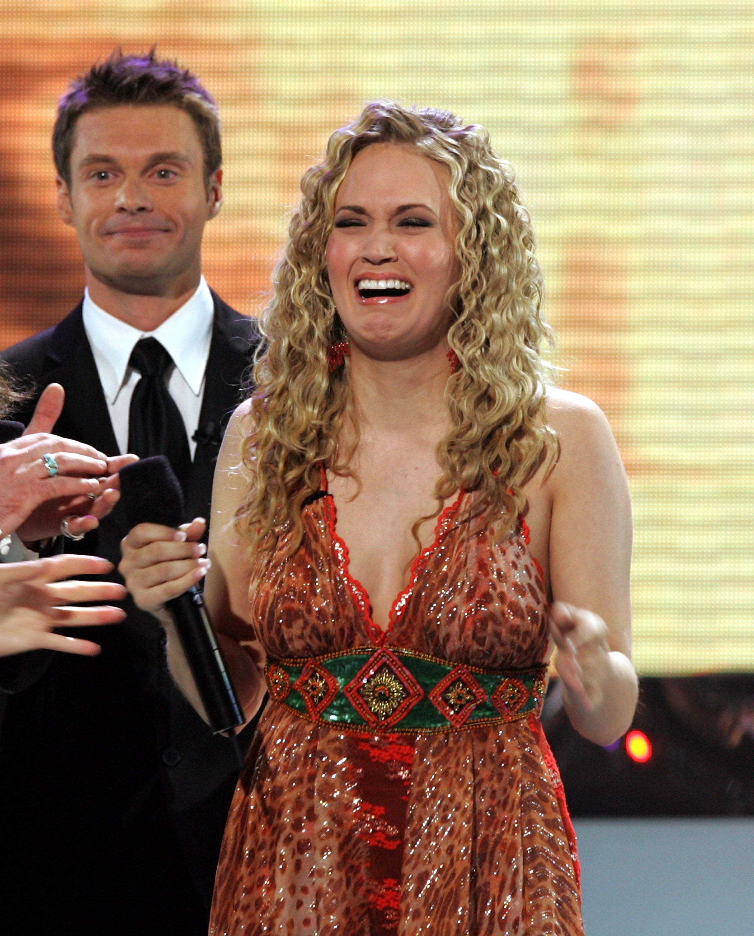 """Carrie Underwood is named the new American Idol by host Ryan Seacrest during the """"American Idol"""" Finale in 2005 