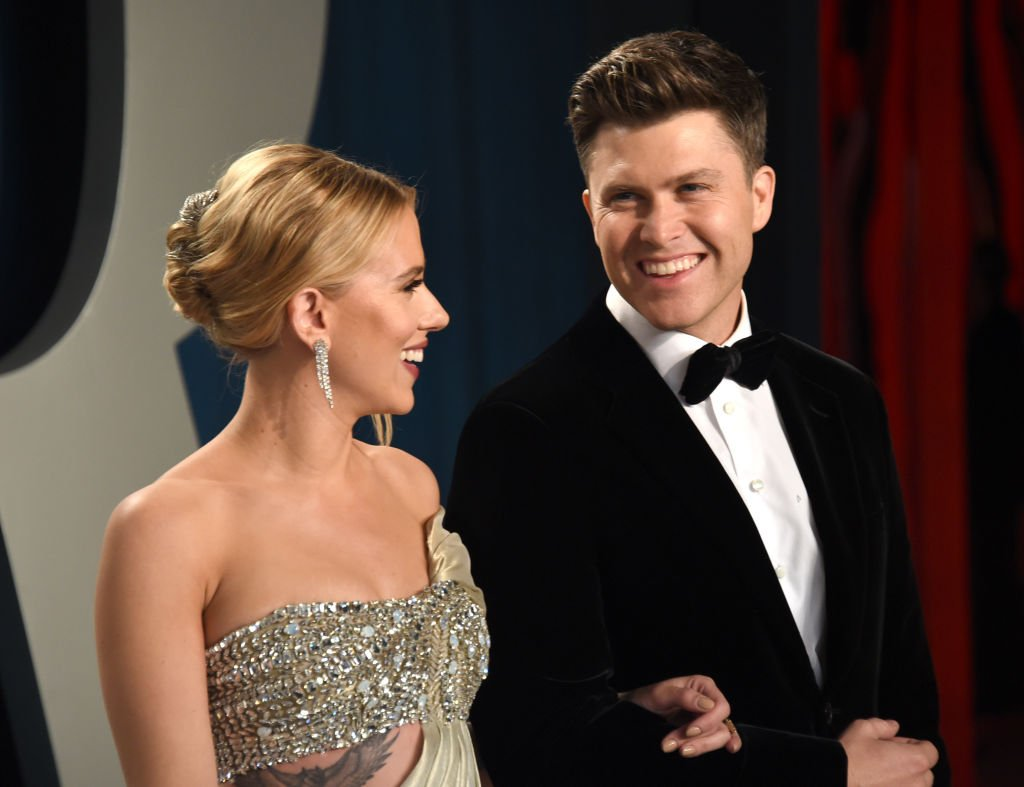 Scarlett Johansson and Colin Jost attend the 2020 Vanity Fair Oscar Party, February 2020   Source: Getty Images