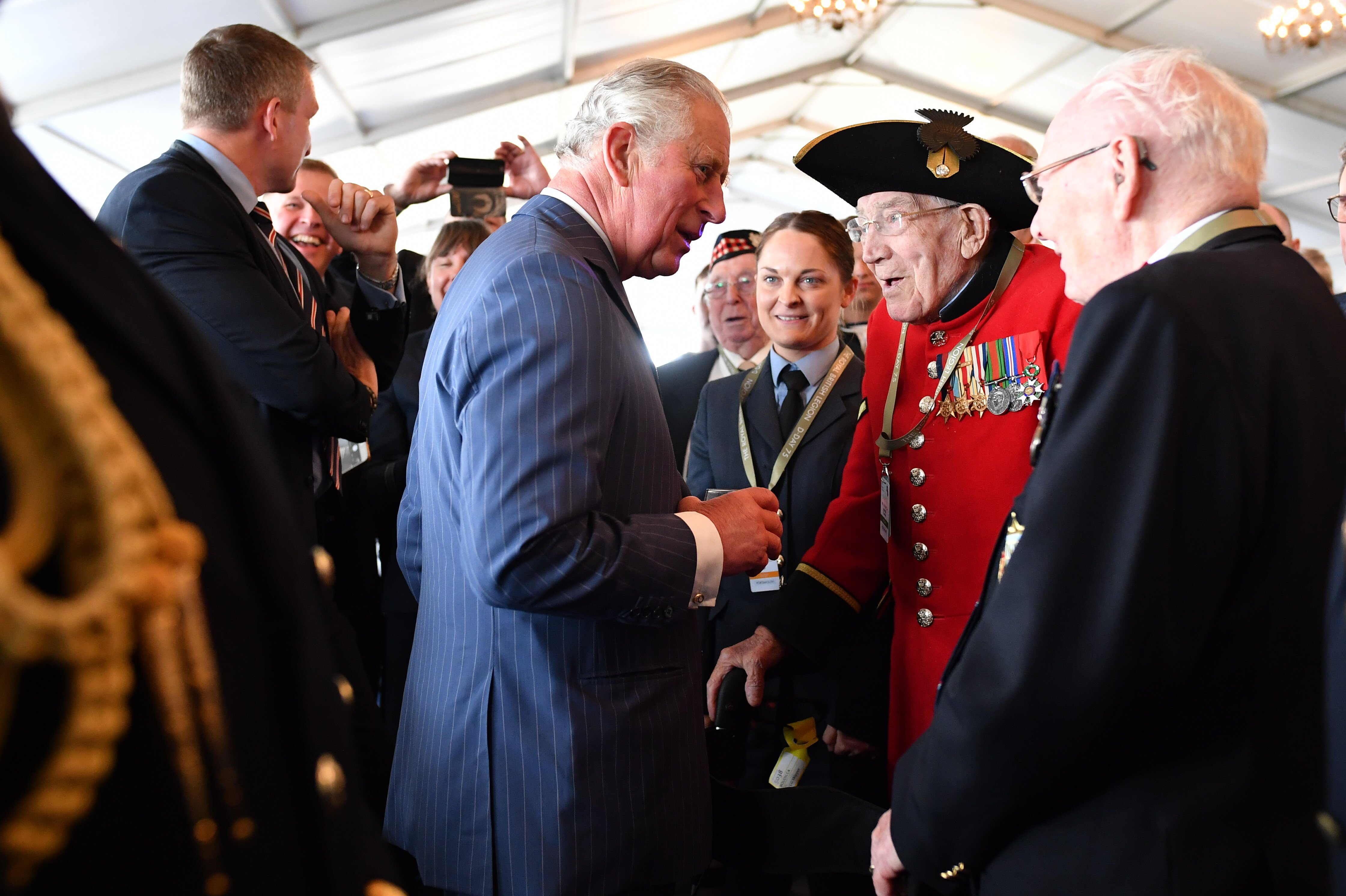 Prince Charles meeting veterans during the D-day 75 Commemorations in Portsmouth, England | Photo: Getty Images