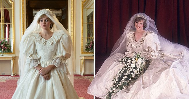 'The Crown' Actress Emma Corrin Looks like Princess Diana's Twin in a Similar Wedding Dress