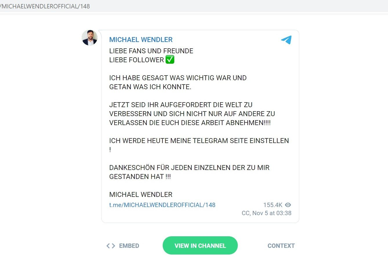 Screenshot von Michaels Nachricht auf Telegram | Quelle: Telegram/Michael Wendler