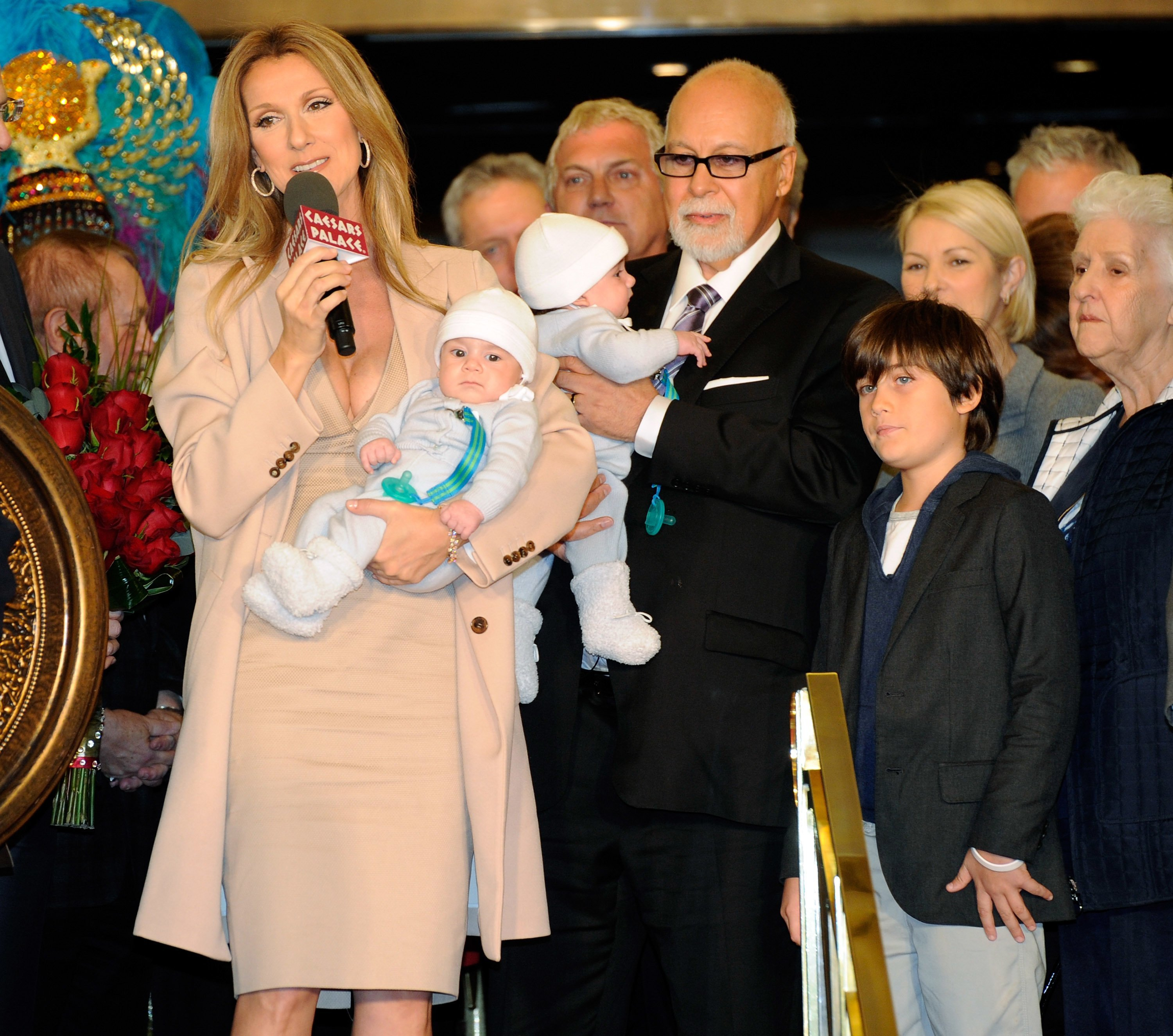 Celine Dion, Rene Angelil, with the twins Nelson and Eddie, and their son Rene-Charles at Caesars Palace in Las Vegas in 2011 | Source: Getty Images