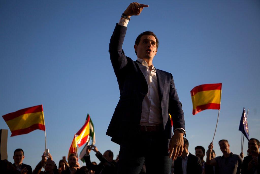 Albert Rivera pronunció un discurso durante un acto de campaña en Málaga.   Fuente: Getty Images