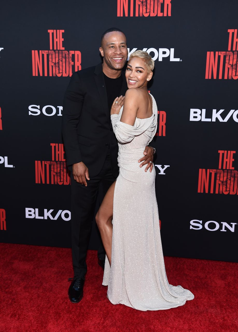 """DeVon Franklin and Meagan Good arrive at the Screen Gems premiere of """"The Intruder"""" at ArcLight Hollywood on May 01, 2019 in Hollywood, California. 