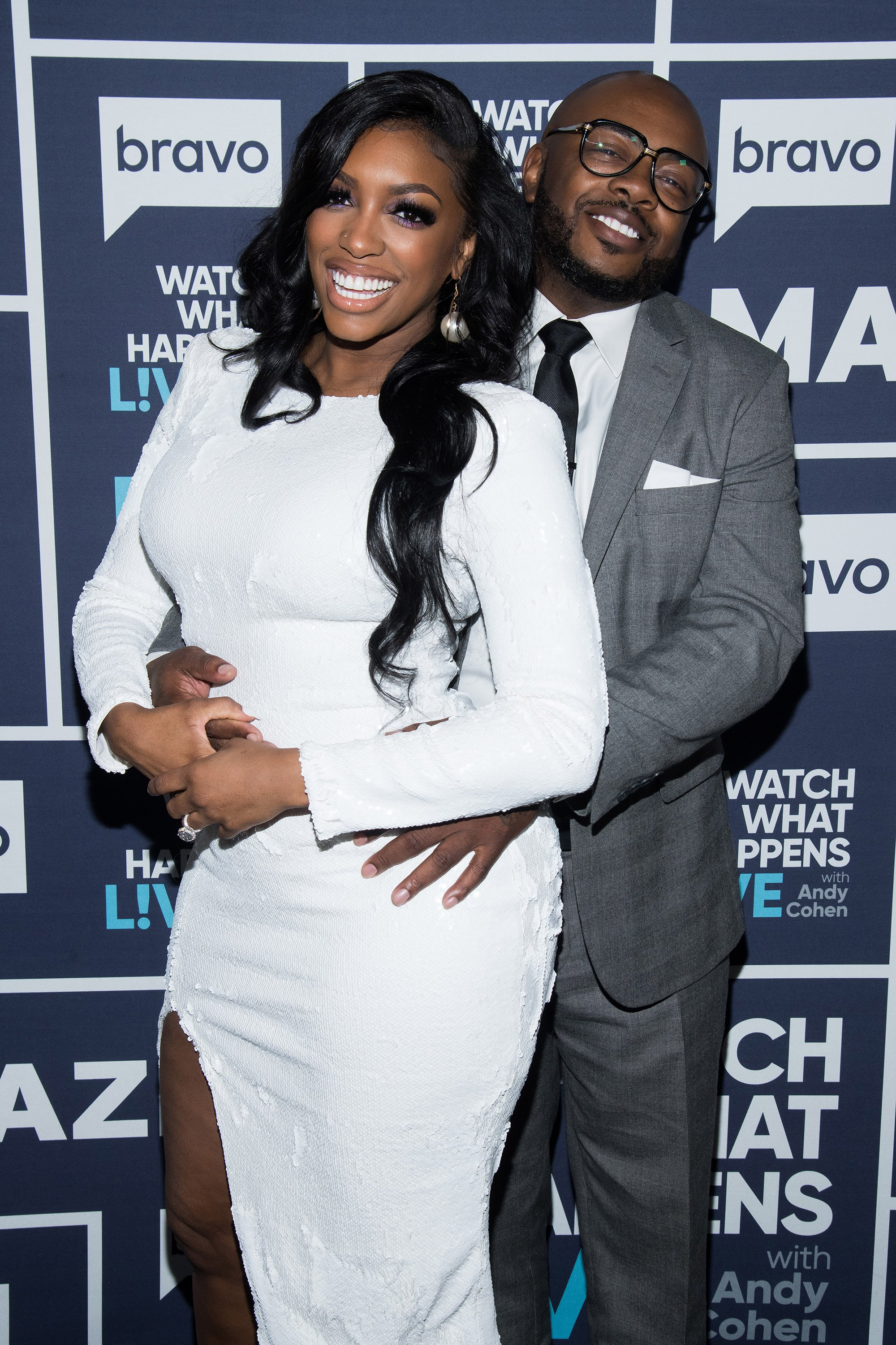 """Porsha Williams and Dennis McKinley during Season 6 of """"What Happens Live with Andy Cohen"""" 